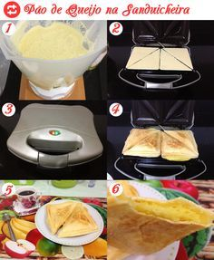 • 1 xícara de leite • 1 xícara de óleo de cozinha • 2 xícaras de polvilho doce • 1 pacote de queijo parmesão • 3 ovos • 1 colher de chá de sal  Preparo: Bata no liquidificador o leite com o óleo e os ovos, depois acrescente o polvilho, com a metade do queijo e sal. Unte a sanduicheira com óleo com a ajuda de um papel toalha. Despeje. Coloque um pouco de queijo sobre a massa líquida e feche a sanduicheira. Deixe assando por aprox 5m.