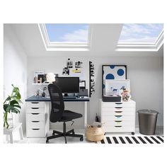 Ikea Linnmon, Ikea Alex Drawers, Ideas Para Organizar, Plastic Drawers, Tuscan Decorating, Drawer Unit, Smart Design, Home Office Furniture, Studio Furniture