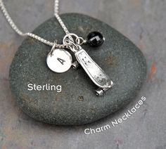 Personalized Sterling Silver Skateboard Charm by CharmNecklaces