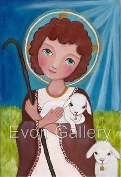 Jesus as a Child Art Painting Print Mounted On by Evonagallery