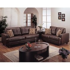 2 pc brown bonded leather sofa and love seat set with throw pillows- Best Quality-For the Home-Living Room-Sofas