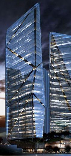 Al Fattan Crystal Towers, Dubai Marina, UAE :: 35 floors #creative #inspiration…