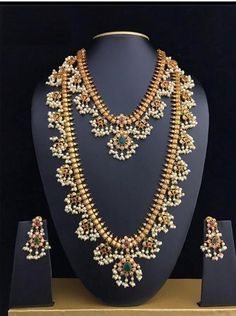 Your place to buy and sell all things handmade Bridal Guttapusalu Necklace Set Haram Gold Necklace South Pearl Necklace Designs, Jewelry Design Earrings, Gold Jewellery Design, Gold Necklace, Gold Jewelry, Ruby Jewelry, Bohemian Jewelry, Gold Temple Jewellery, Jewelry Necklaces
