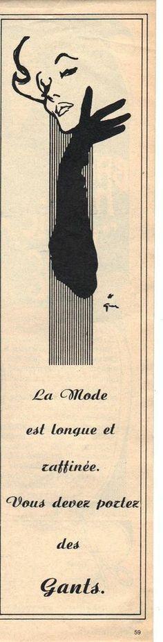 PUBLICITE 1960 Les GANTS la mode dessinée par Rene GRUAU