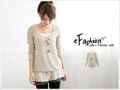 eFashion- Set: Knit Top + Lace-Hem Camisole + Necklace Hip Hip, Lace Tops, Camisole, Tunic Tops, Beige, Knitting, Women, Fashion, Moda