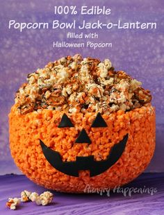 Hungry Happenings: 100% Edible Popcorn Bowl Jack-O-Lantern filled with Halloween Popcorn