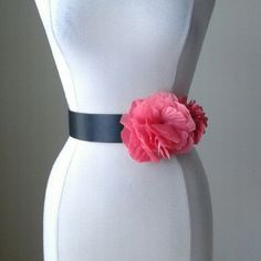 Coral flower stretch belt Black top sold separately!  Soft fabric flowers, elastic stretch back with snap closure, leather lining, 2 inches wide, length measurement taken when closed and not stretched is 31inches. White House Black Market Accessories Belts