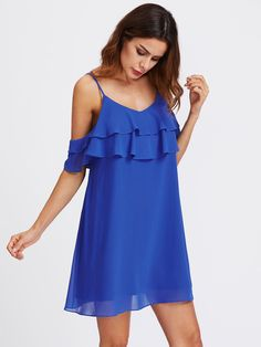 Blue Layered Flounce Slip Dress Sexy V Neck Ruffle Summer Beach Dresses Fashion Women Cold Shoulder Casual Dress Oh just take a look at this! Summer Dresses With Sleeves, Vintage Summer Dresses, Blue Summer Dresses, Beach Dresses, Sexy Dresses, Blue Dresses, Casual Dresses, Short Dresses, Dress Summer