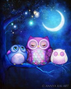 Night Owls & Fairy Lanterns - NEW watercolor OWL ART - Owl Painting - Owl…