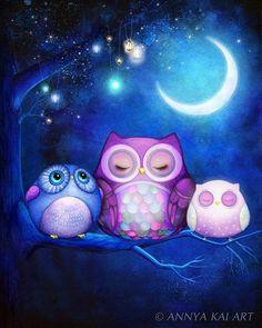 Night Owls & Fairy Lanterns - NEW watercolor OWL ART - Owl Painting - Owl Print - by Annya Kai