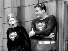 I Love Lucy show. Lucy & Superman on the ledge of the apartment in the rain.Lucy is going to pose as Superman when the real one shows up. (One of my FAV episodes! Lucille Ball, I Love Lucy Show, My Love, George Reeves, Lucy And Ricky, Adventures Of Superman, Desi Arnaz, Rick Y, Baby Boomer