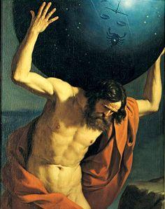 Atlas, segurando o globo celestial, 1646    Giovanni Francesco Barbieri, conhecido como Guercino (1591-1666)    óleo sobre tela,  127 x 101 cm    Museu Mozzi Bardini, Florença