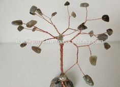Handmade Gemstone tree. Labradorite & Natural Agate Geode wire tree sculpture. Copper wire tree Black and green stone jewelry