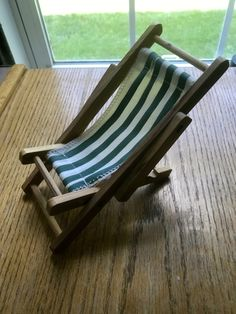"""Adorable Miniature Wood and Cloth Lawn Chair """"For Dolls , etc"""""""