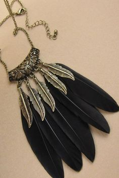Black Feather Boho Chain Necklace