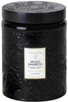 Voluspa 'Japonica - Moso Bamboo' Large Embossed Jar Candle available at Voluspa Candles, Soy Candles, Scented Candles, Black Candles, Candle Lanterns, Candle Jars, Candels, Candle Labels, Home Spray