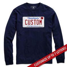 7c4d0103 Custom Massachusetts License Plate T-Shirt