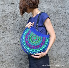 Peacock Tail Bag CAL in overlay crochet. Original design by Lilla Bjorn Crochet