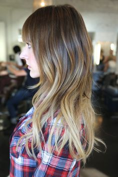 medium ombre hair color with bangs.  next haircut?