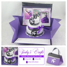 Purse Invitation with 3-Tier Cake. Great for Sweet Sixteen, Quinceanera, Bat Mitzvah and Weddings.