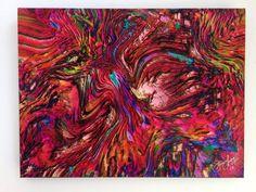 Face 2 Face - Colorfu lOriginal Abstract Art - Ink & Acrylic on Gallery Wrap Canvas - Home Wall Decor - Rare Collectible - USA Ships free