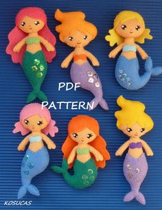 PDF sewing pattern to make a small mermaids in felt. by Kosucas