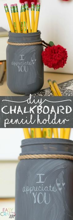 Easy Teacher Appreciation Day Craft: DIY Pencil Holder / Storage for office supllies / Büromaterialien organisieren Easy Fall Crafts, Easy Crafts For Kids, Fun Crafts, Spring Crafts, Wood Crafts, Simple Crafts, Easy Painting Projects, Pencil Crafts, Back To School Crafts