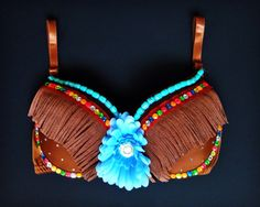 This fun Native-American/ Indian rave bra is exclusive and eye-catching at any event! Entertainment Ideas, Native American, Rave, Cinderella, Vogue, Indian, Trending Outfits, Vintage, Etsy