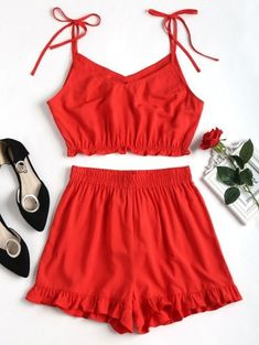 5ecc1dd13860  5 off  50 Sale Special for New Users.Ruffles Slip Shorts Set