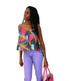 Multi Coloured African Print Cami Top
