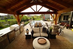 A pool or a pavilion? We think both would be good for you.  #ingroundpool #backyardpavillion #pavillions #outdoorkitchens