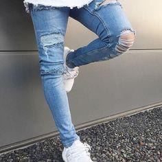 ca2af5aca0b Fashion Cool Hole Plain Slim Jeans Pants. Ripped Biker JeansSlim JeansDenim  PantsMen s JeansDestroyed ...