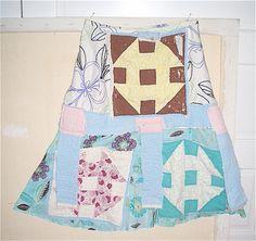 FEEDSACK QUILT # PATCHWORK # Eclectic Artisan SKIRT Altered Art #  Vintage Linens # my bonny gorsuch
