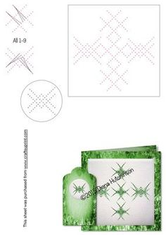 Geomatric Design 2 on Craftsuprint designed by Diana Hutchinson - An attractive geometric design for a card with a matching, smaller design for a gift tag to stitch or prick. - Now available for download!