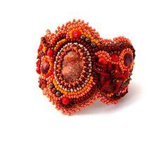 Bead Embroidered Bracelet, Beadwork bracelet jewelry, Seed bead bracelet, Beaded jewelry, Orange, brown, autumn fall fashion on Etsy, $130.00