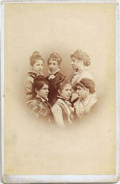 [Half a dozen charmingly pretty (unidentified) Victorian woman, whom I hesitate to say were sisters. I tend to think friends or perhaps a cousins (with some being sisters to one another) more likely. ]