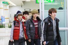 EXO-M Heading Back China (airport) | Xiumin, Chen, and Luhan.
