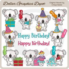Little Koala - Birthday - Clip Art - *DGD Exclusive* - Only $1.00 at DollarGraphicsDepot.com : Great for printable crafts, scrapbook pages, web graphics, birthday greeting cards, birthday party invitations, birthday party favors, gift boxes / bags, gift tags / labels, candy bar wrappers, cupcake boxes / toppers, printable photo frames, iron-on transfers, and much more!