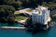 Lakeside Castle, Trieste, Italy photo by medioman Trieste, The Places Youll Go, Places To See, Exotic Places, Fortification, Kirchen, Italy Travel, Places To Travel, Beautiful Places