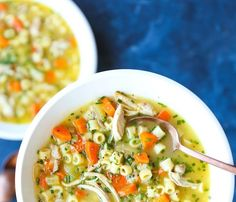 Cold Fighting Chicken Noodle Soup - The most soothing, comforting, cozy soup for the flu season! Quick/easy to make, you'll be feeling better in no time! Easy Soup Recipes, Crockpot Recipes, Eggless Pasta Dough Recipe, Recipe Pasta, Chicken Noodle Soup Rotisserie, Ginger Chicken Soup, Rosemary Chicken, Crock Pot Soup, Yum Yum Chicken