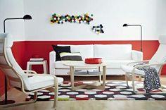 #red #wall #boiserie #livingroom | Ikea