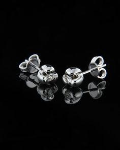 Σκουλαρίκια λευκόχρυσα Κ18 με Διαμάντι