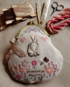 Hand embroidered bunny and flowers -spring centerpiece- by Steekjes & Kruisjes van Marijke Ribbon Embroidery, Embroidery Art, Cross Stitch Embroidery, Embroidery Patterns, Art Du Fil, Frame Purse, Cross Stitching, Needlework, Sewing Projects