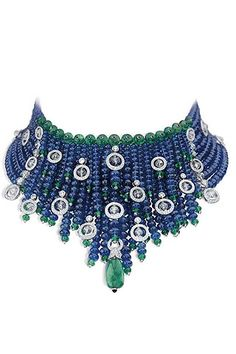 Cartier sapphire, emerald and diamond collar......