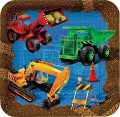 This set of luncheon/dessert size square plates are perfect for snacks and cake or dessert, and will perfectly suit your table.  If your child likes construction, they will love this plate. The square lunch/dessert plate features a construction scene with a backhoe, dump truck and more to stimulate their imagination!  8 plates; 17.8cm (square)