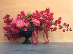 Bougainvillea and peonies and in a black compote Whimsical Wedding Theme, Floral Wedding, Wedding Colors, Wedding Bouquets, Flower Decorations, Wedding Decorations, Wedding Ideas, Bougainvillea Wedding, Tall Wedding Centerpieces