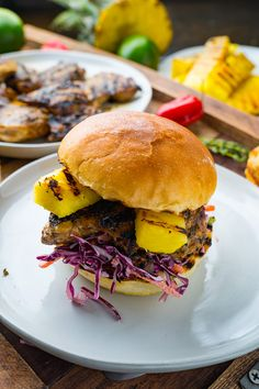 Spicy grilled jerk chicken sandwiches with pineapple and a creamy and tangy coconut slaw! Grilled Jerk Chicken, Grilled Chicken Sandwiches, Chicken Sandwich Recipes, Panini Recipes, Slaw Recipes, Grilling Recipes, Cooking Recipes, Healthy Recipes, Healthy Food