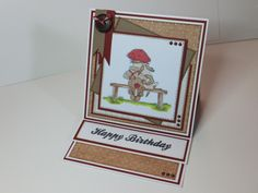 (Ref:H8) A very simple easel card using an LOTV stamp and Nitwit papers crab apple lane.