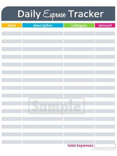 pdf and excel daily expense tracker | Printable Organization Lists ...