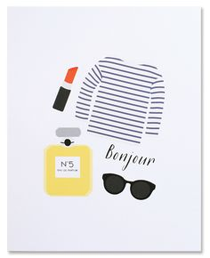 Bonjour Print via MADEBYGIRL.com // French // Paris // art